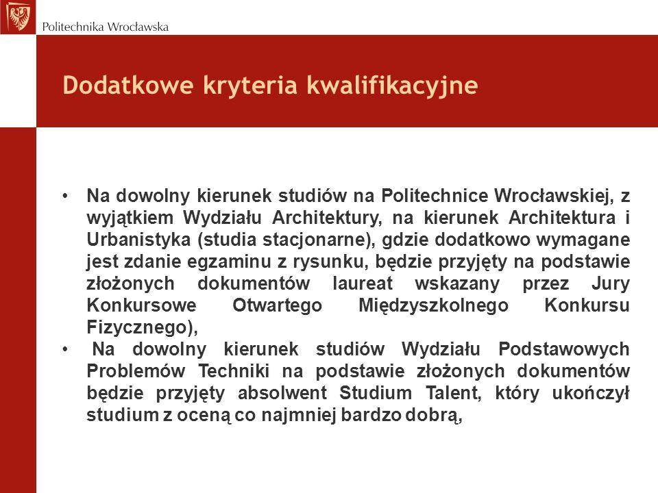 Na dowolny kierunek studiów na Politechnice Wrocławskiej, z wyjątkiem Wydziału Architektury, na kierunek Architektura i Urbanistyka (studia stacjonarn