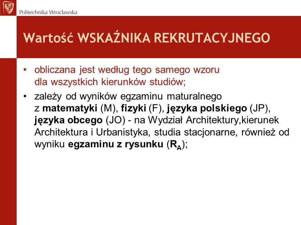 Wartość WSKAŹNIKA REKRUTACYJNEGO obliczana jest według tego samego wzoru dla wszystkich kierunków studiów; –zależy od wyników egzaminu maturalnego z matematyki (M), fizyki (F), języka polskiego (JP), języka obcego (JO) - na Wydział Architektury również od wyniku egzaminu z rysunku (R A ); określana jest poprzez przeliczenie wyników matury na liczbę punktów, gdzie: procent wyniku = liczba punktów