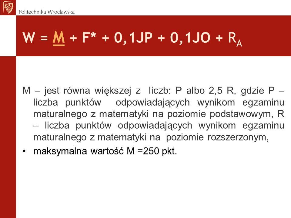 W = M + F * + 0,1JP + 0,1JO + R A F*- jest równa większej z liczb: P albo 2,5 R, gdzie P – liczba punktów odpowiadających wynikom egzaminu maturalnego z fizyki na poziomie podstawowym, R – liczba punktów odpowiadających wynikom egzaminu maturalnego z fizyki na poziomie rozszerzonym, maksymalna wartość F =250 pkt.