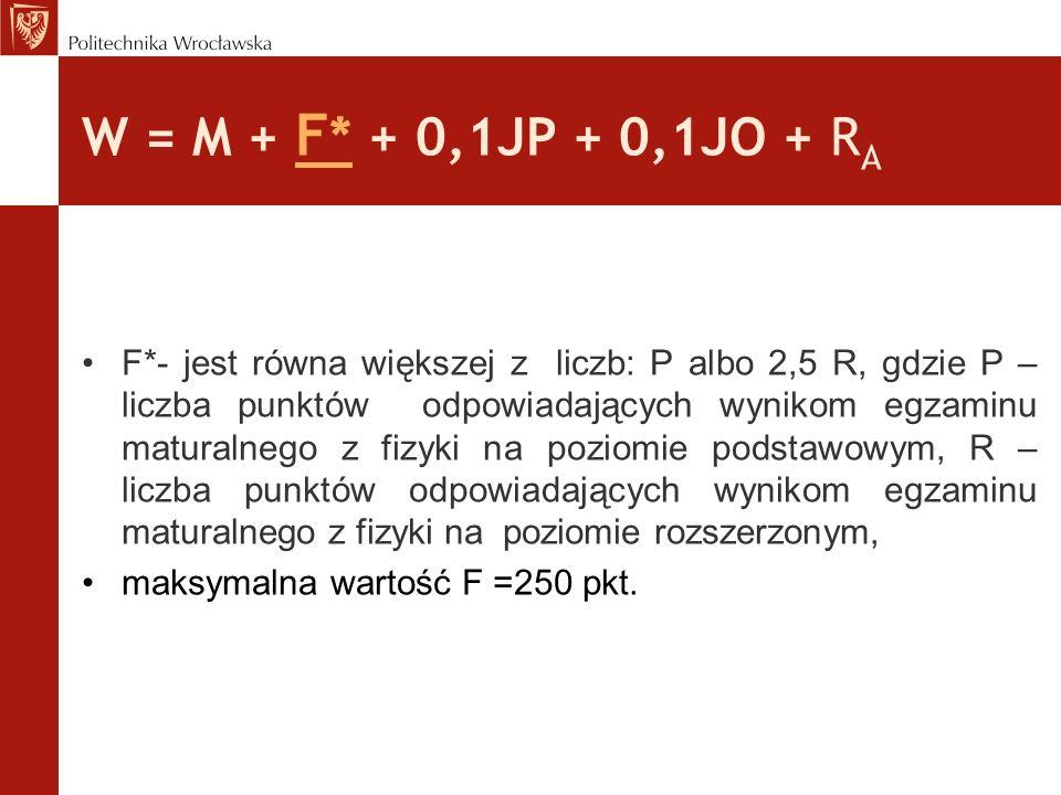 W = M + F * + 0,1JP + 0,1JO + R A * dla kandydata na Wydział Chemiczny wynik egzaminu maturalnego z fizyki może być zastąpiony wynikiem egzaminu maturalnego z chemii; * dla kandydata na Wydział Inżynierii Środowiska, kierunek Ochrona Środowiska wynik egzaminu maturalnego z fizyki może być zastąpiony wynikiem egzaminu maturalnego z chemii lub biologii;