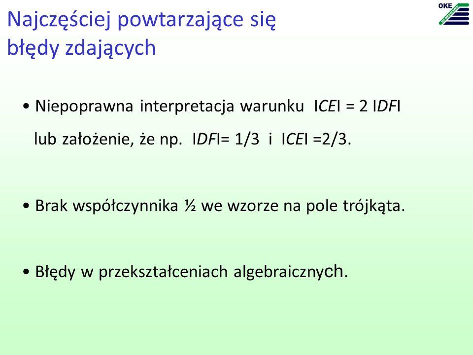 Niepoprawna interpretacja warunku ICEI = 2 IDFI lub założenie, że np.