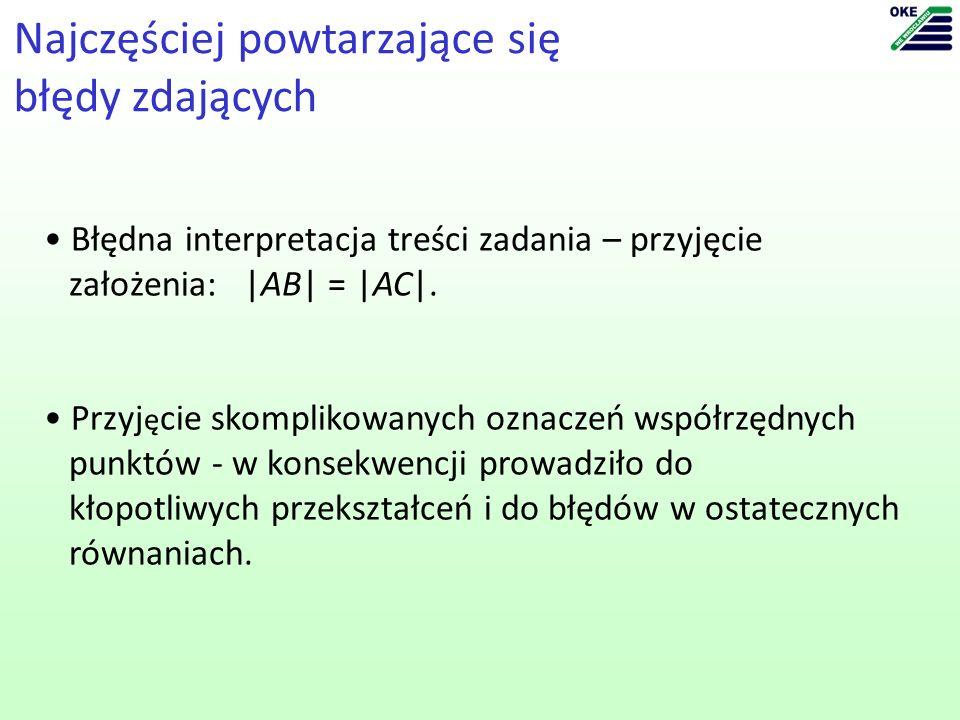 Najczęściej powtarzające się błędy zdających Błędna interpretacja treści zadania – przyjęcie założenia: |AB| = |AC|.