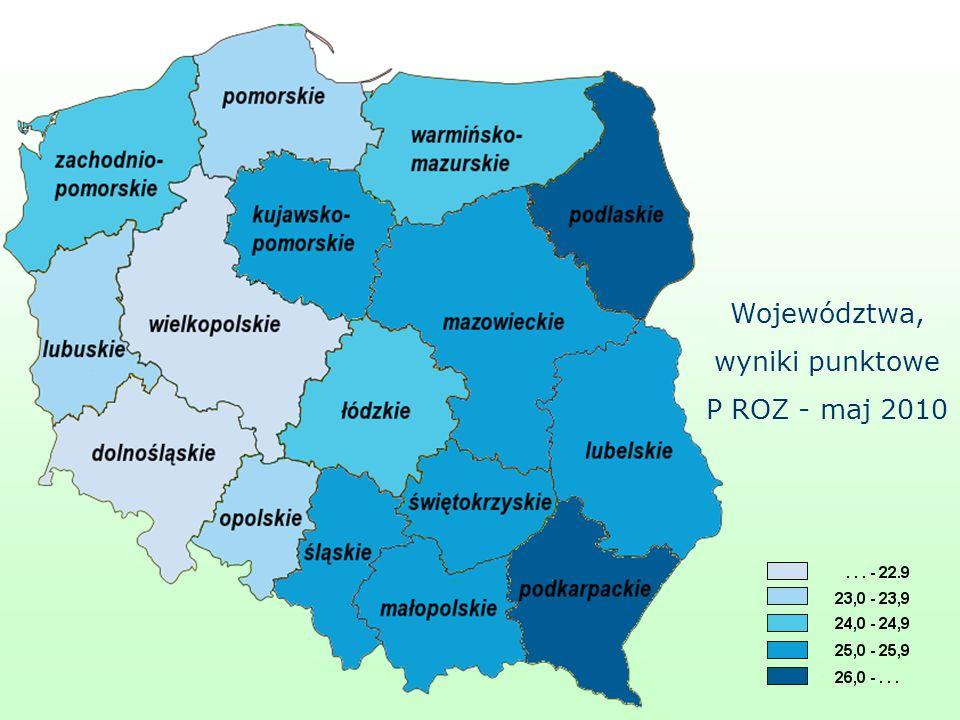 Województwa, wyniki punktowe P ROZ - maj 2010