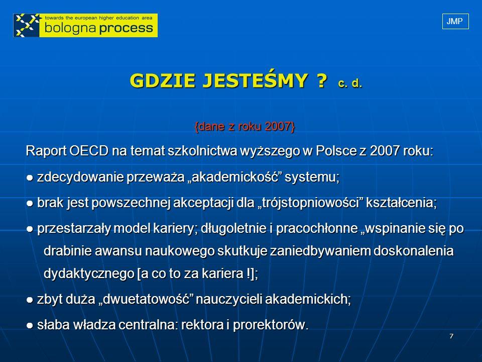 7 GDZIE JESTEŚMY ? c. d. {dane z roku 2007} {dane z roku 2007} Raport OECD na temat szkolnictwa wyższego w Polsce z 2007 roku: zdecydowanie przeważa a