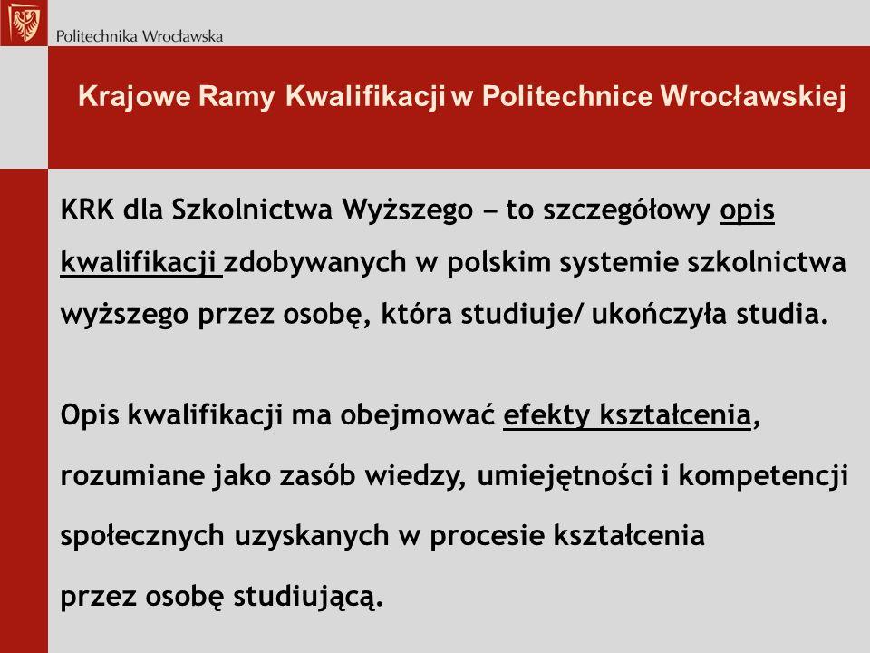 Krajowe Ramy Kwalifikacji w Politechnice Wrocławskiej KRK dla Szkolnictwa Wyższego to szczegółowy opis kwalifikacji zdobywanych w polskim systemie szkolnictwa wyższego przez osobę, która studiuje/ ukończyła studia.