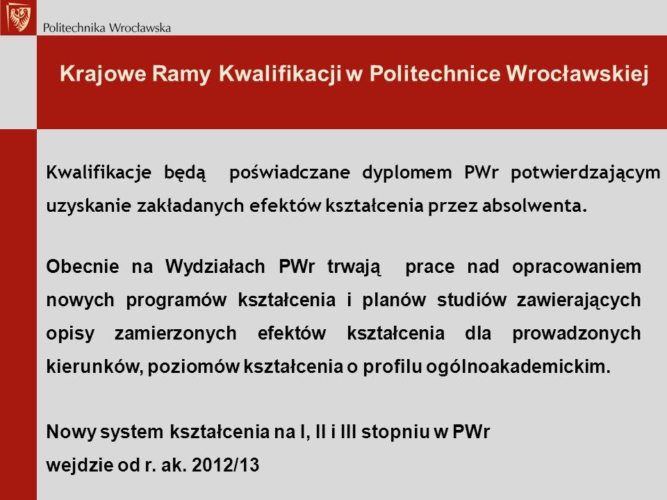 Krajowe Ramy Kwalifikacji w Politechnice Wrocławskiej Kwalifikacje będą poświadczane dyplomem PWr potwierdzającym uzyskanie zakładanych efektów kształcenia przez absolwenta.
