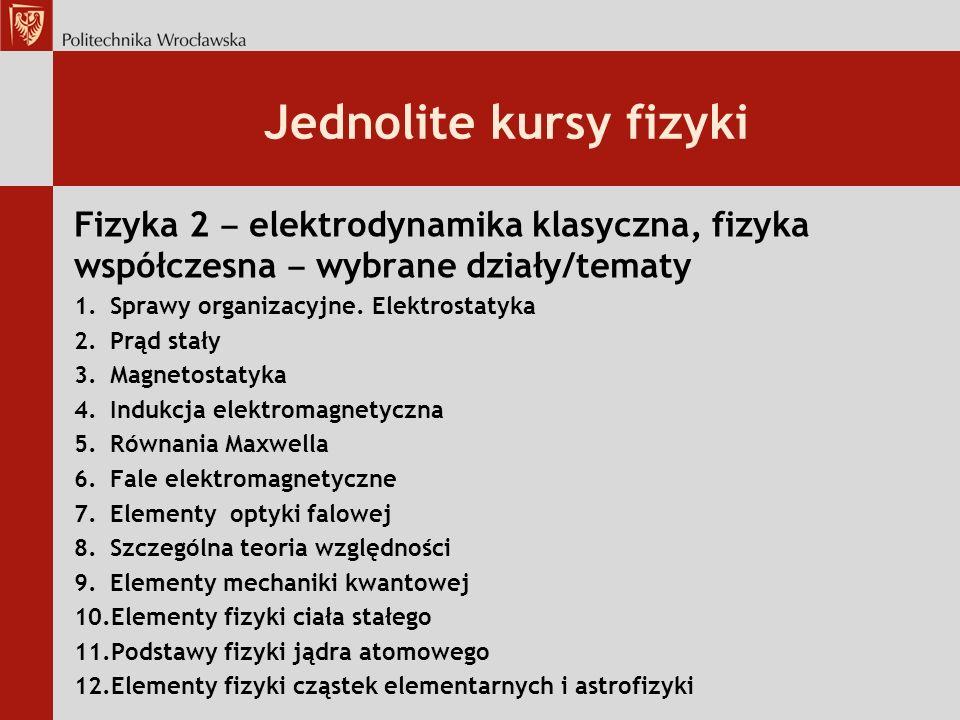 Jednolite kursy fizyki Fizyka 2 elektrodynamika klasyczna, fizyka współczesna wybrane działy/tematy 1.Sprawy organizacyjne.