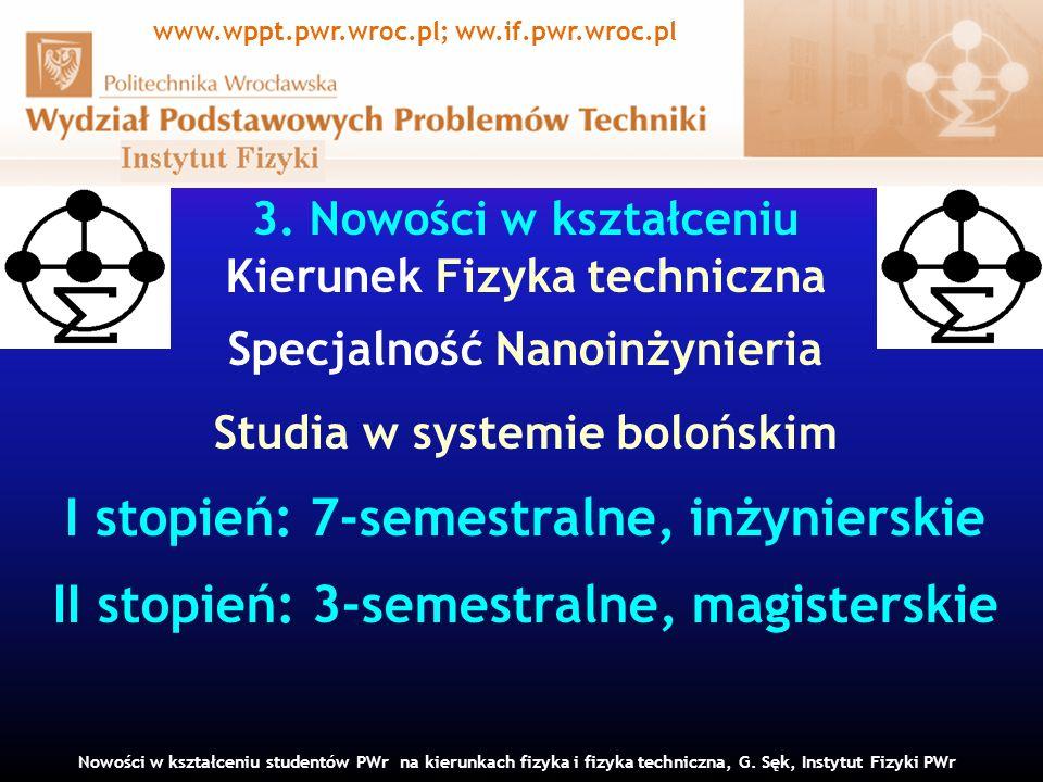 3. Nowości w kształceniu Kierunek Fizyka techniczna Specjalność Nanoinżynieria Studia w systemie bolońskim I stopień: 7-semestralne, inżynierskie II s