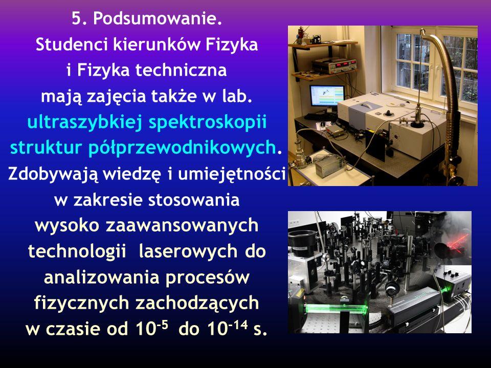 5. Podsumowanie. Studenci kierunków Fizyka i Fizyka techniczna mają zajęcia także w lab. ultraszybkiej spektroskopii struktur półprzewodnikowych. Zdob
