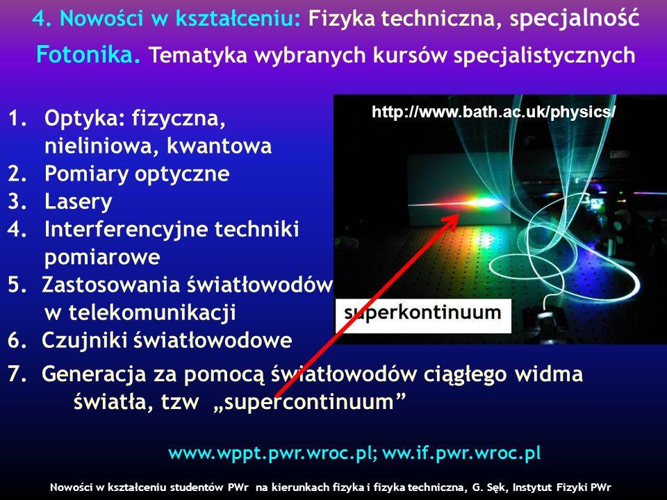 4. Nowości w kształceniu: Fizyka techniczna, s pecjalność Fotonika. Tematyka wybranych kursów specjalistycznych Nowości w kształceniu studentów PWr na