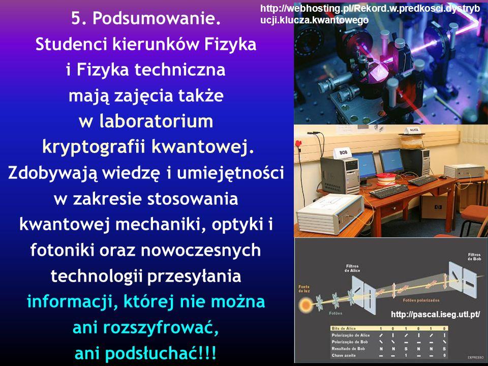 5. Podsumowanie. Studenci kierunków Fizyka i Fizyka techniczna mają zajęcia także w laboratorium kryptografii kwantowej. Zdobywają wiedzę i umiejętnoś