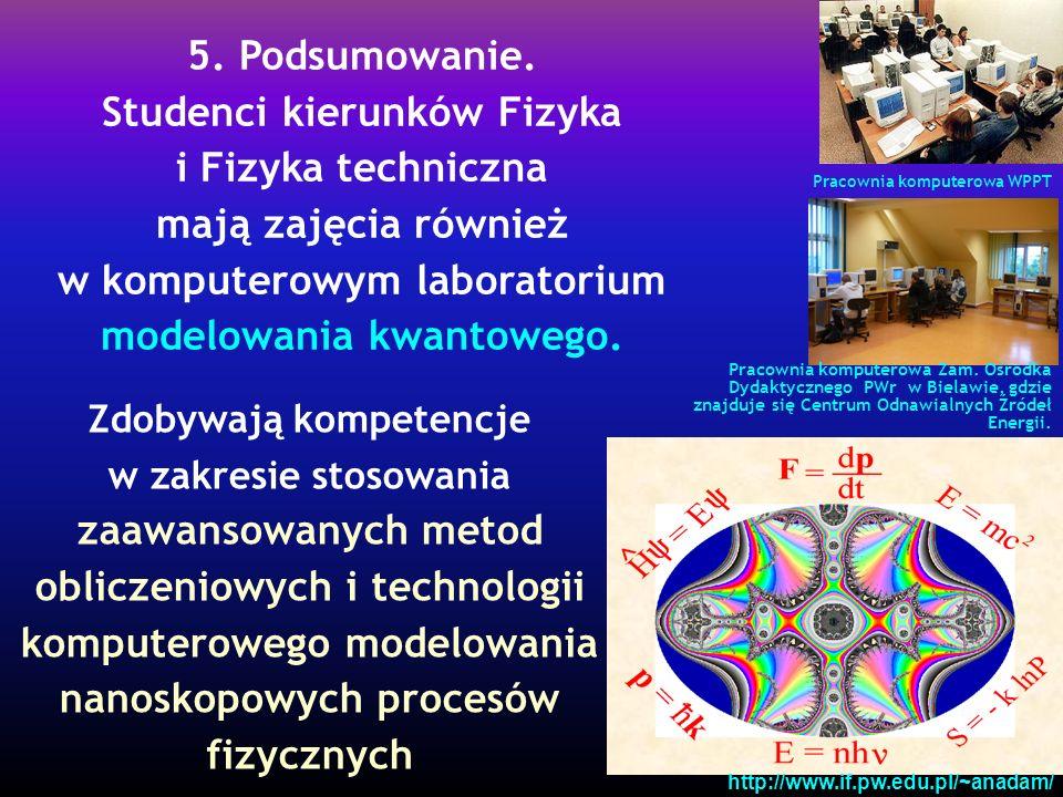Zdobywają kompetencje w zakresie stosowania zaawansowanych metod obliczeniowych i technologii komputerowego modelowania nanoskopowych procesów fizycznych Pracownia komputerowa Zam.
