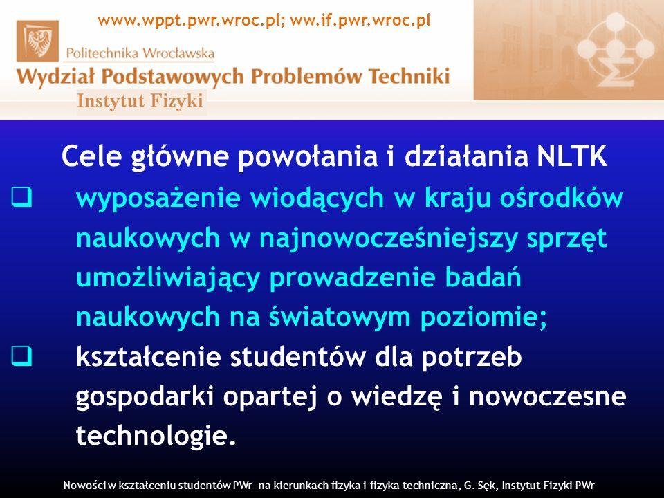 Cele główne powołania i działania NLTK wyposażenie wiodących w kraju ośrodków naukowych w najnowocześniejszy sprzęt umożliwiający prowadzenie badań na