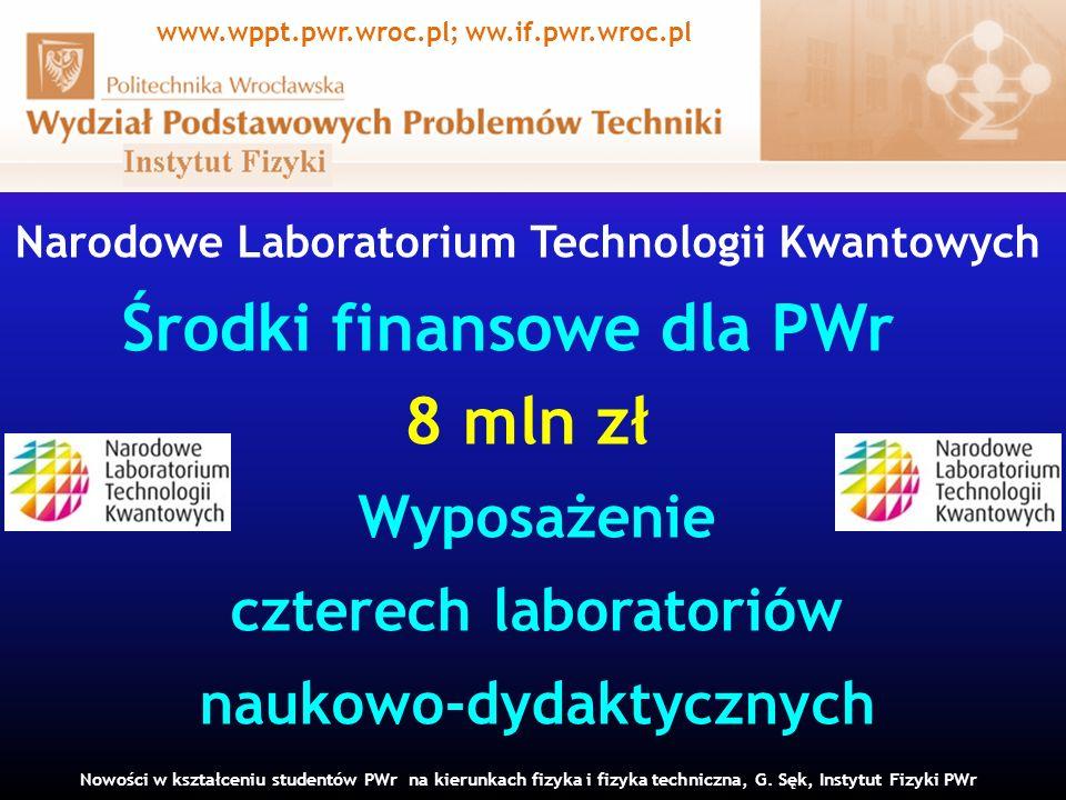 Narodowe Laboratorium Technologii Kwantowych Środki finansowe dla PWr 8 mln zł Wyposażenie czterech laboratoriów naukowo-dydaktycznych Nowości w kształceniu studentów PWr na kierunkach fizyka i fizyka techniczna, G.