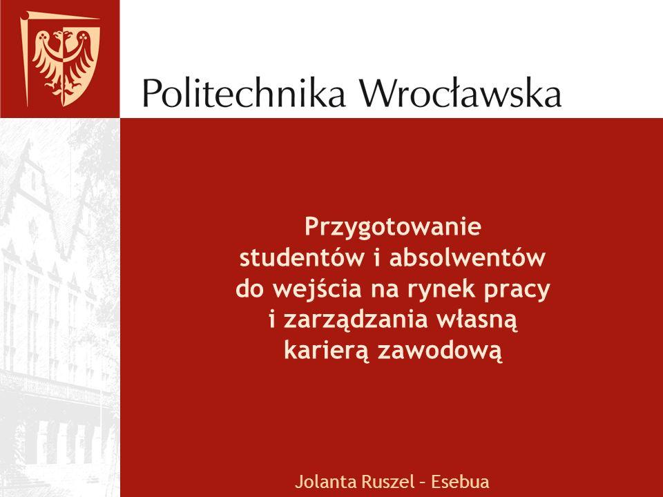 Przygotowanie studentów i absolwentów do wejścia na rynek pracy i zarządzania własną karierą zawodową Jolanta Ruszel – Esebua
