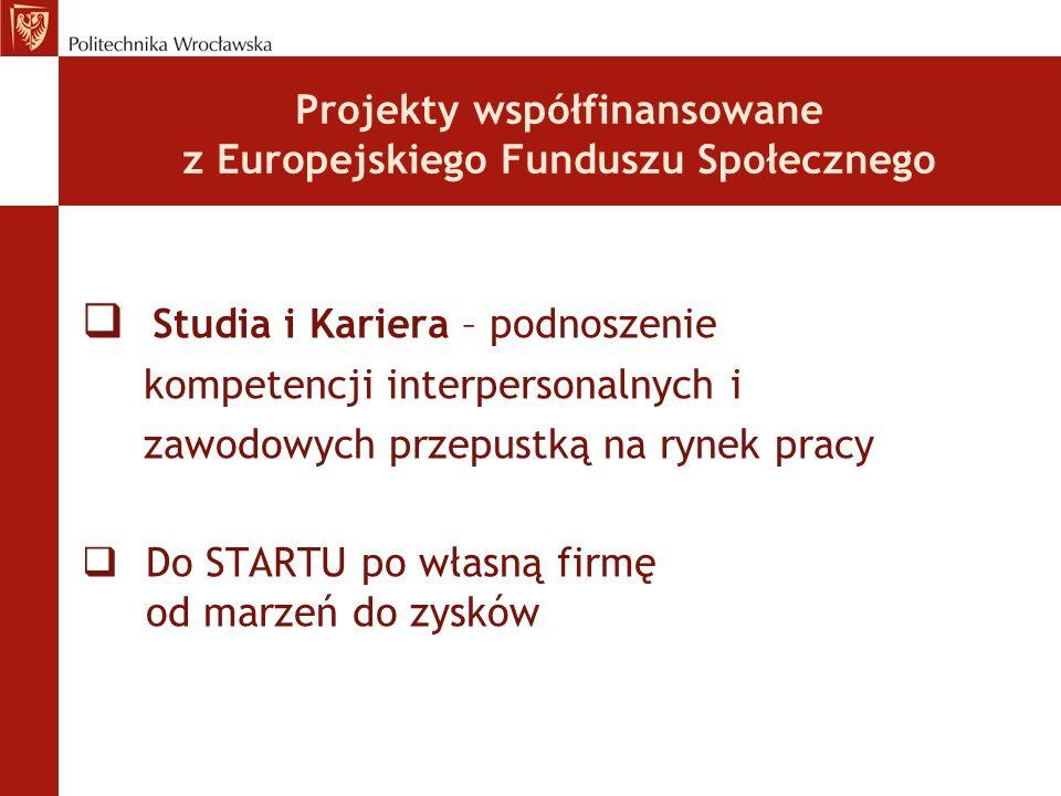 Projekty współfinansowane z Europejskiego Funduszu Społecznego Studia i Kariera – podnoszenie kompetencji interpersonalnych i zawodowych przepustką na rynek pracy Do STARTU po własną firmę od marzeń do zysków