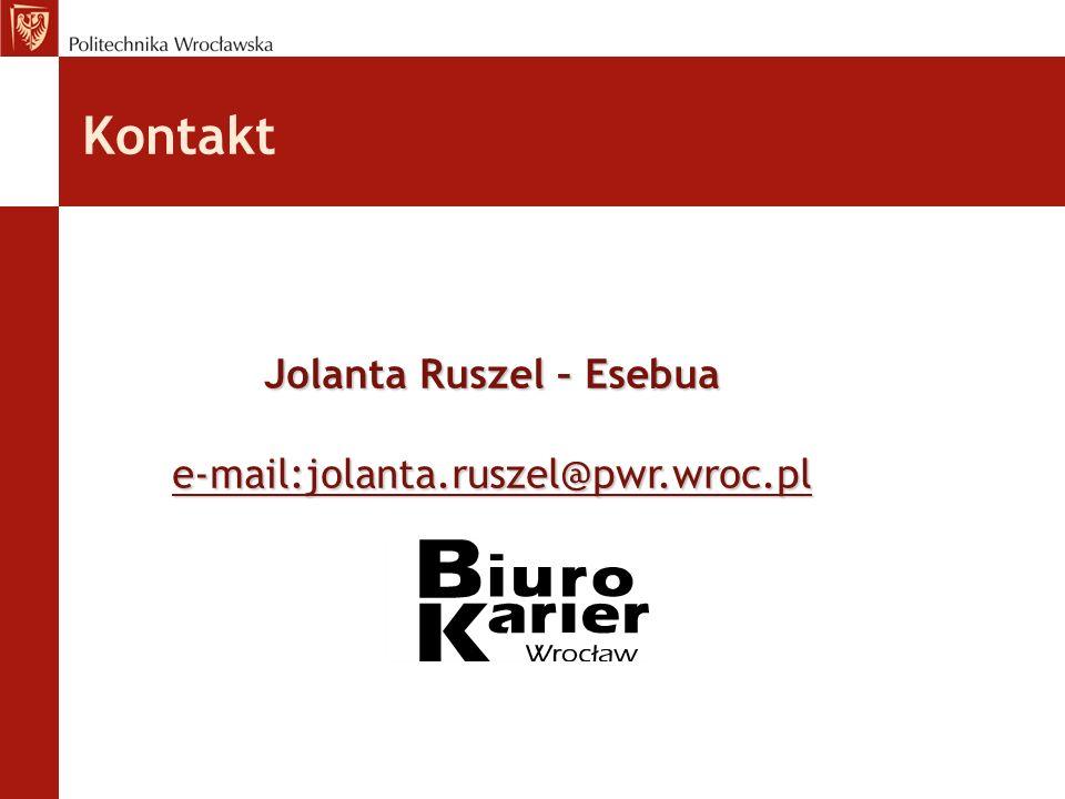 Kontakt Jolanta Ruszel – Esebua e-mail:jolanta.ruszel@pwr.wroc.pl