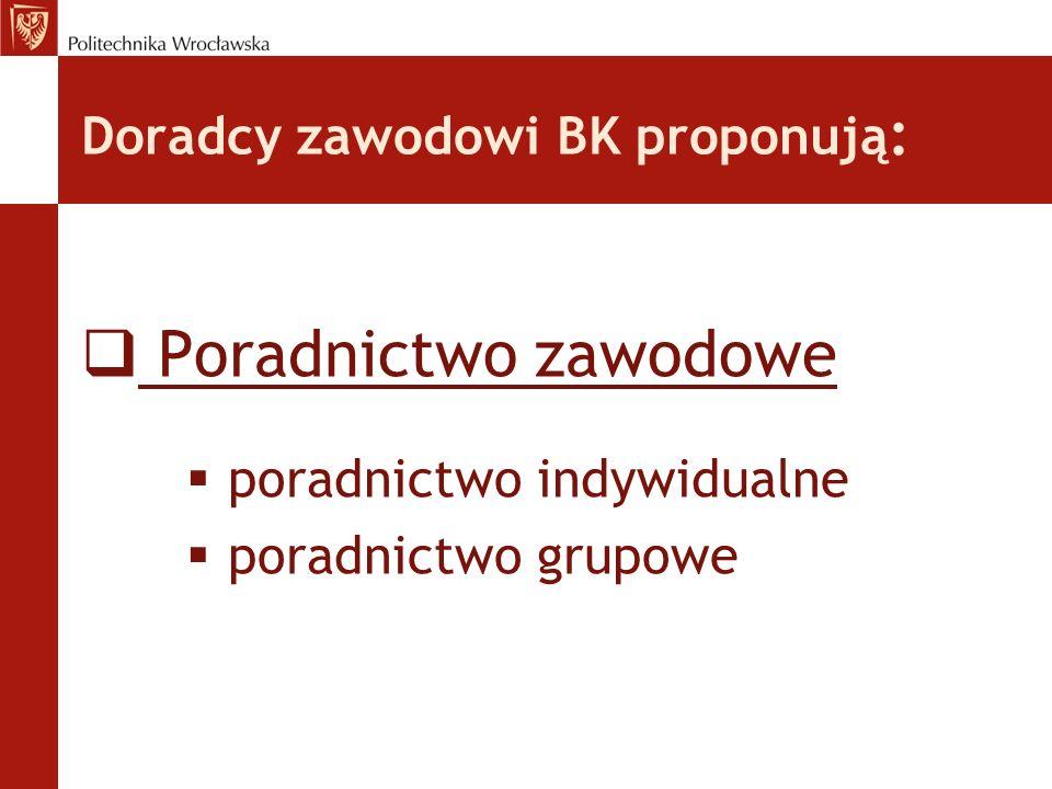 Doradcy zawodowi BK proponują : Poradnictwo zawodowe poradnictwo indywidualne poradnictwo grupowe