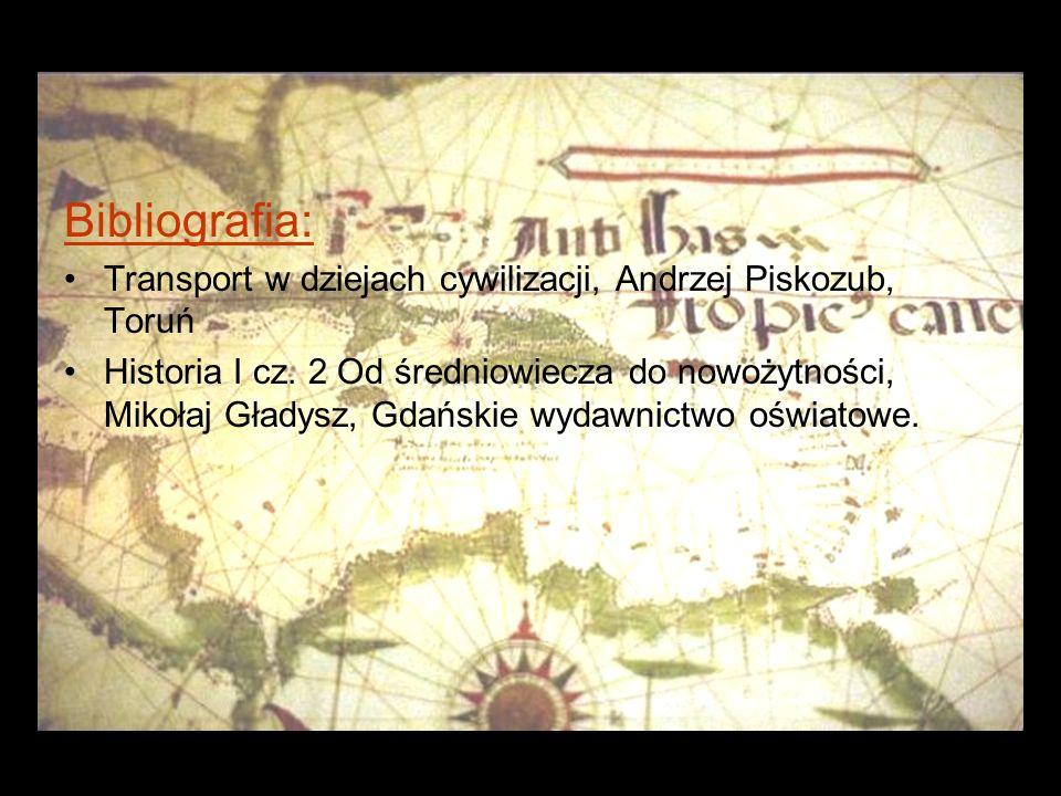 Bibliografia: Transport w dziejach cywilizacji, Andrzej Piskozub, Toruń Historia I cz.