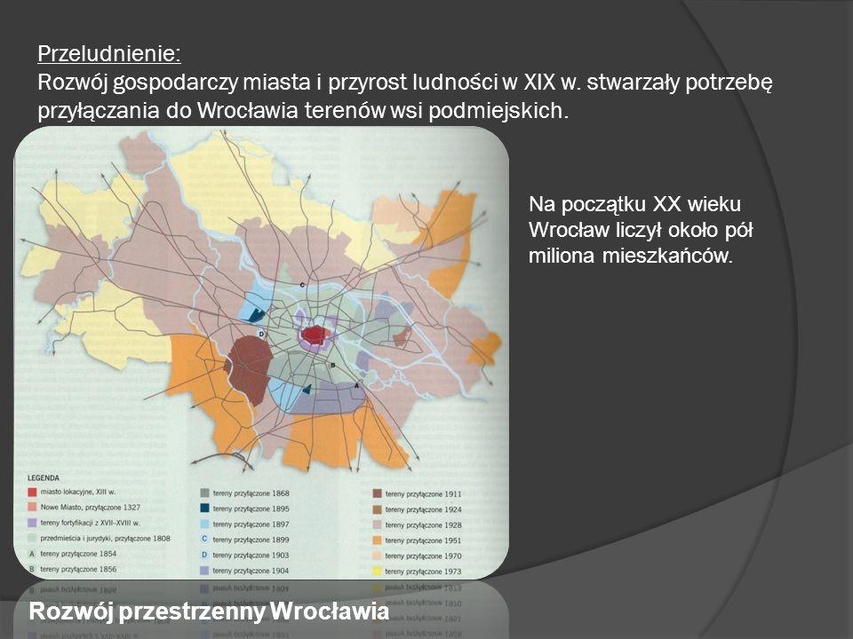 Przeludnienie: Rozwój gospodarczy miasta i przyrost ludności w XIX w. stwarzały potrzebę przyłączania do Wrocławia terenów wsi podmiejskich. Rozwój pr