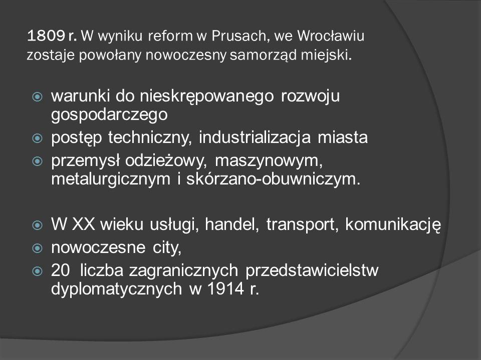 1809 r. W wyniku reform w Prusach, we Wrocławiu zostaje powołany nowoczesny samorząd miejski. warunki do nieskrępowanego rozwoju gospodarczego postęp