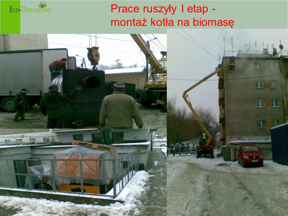 - Prace ruszyły I etap - montaż kotła na biomasę