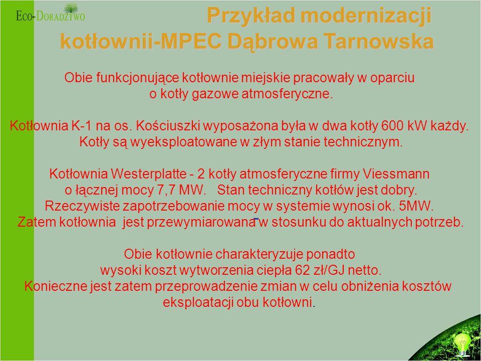 Przykład modernizacji kotłownii-MPEC Dąbrowa Tarnowska Przykład modernizacji kotłownii-MPEC Dąbrowa Tarnowska - Obie funkcjonujące kotłownie miejskie pracowały w oparciu o kotły gazowe atmosferyczne.