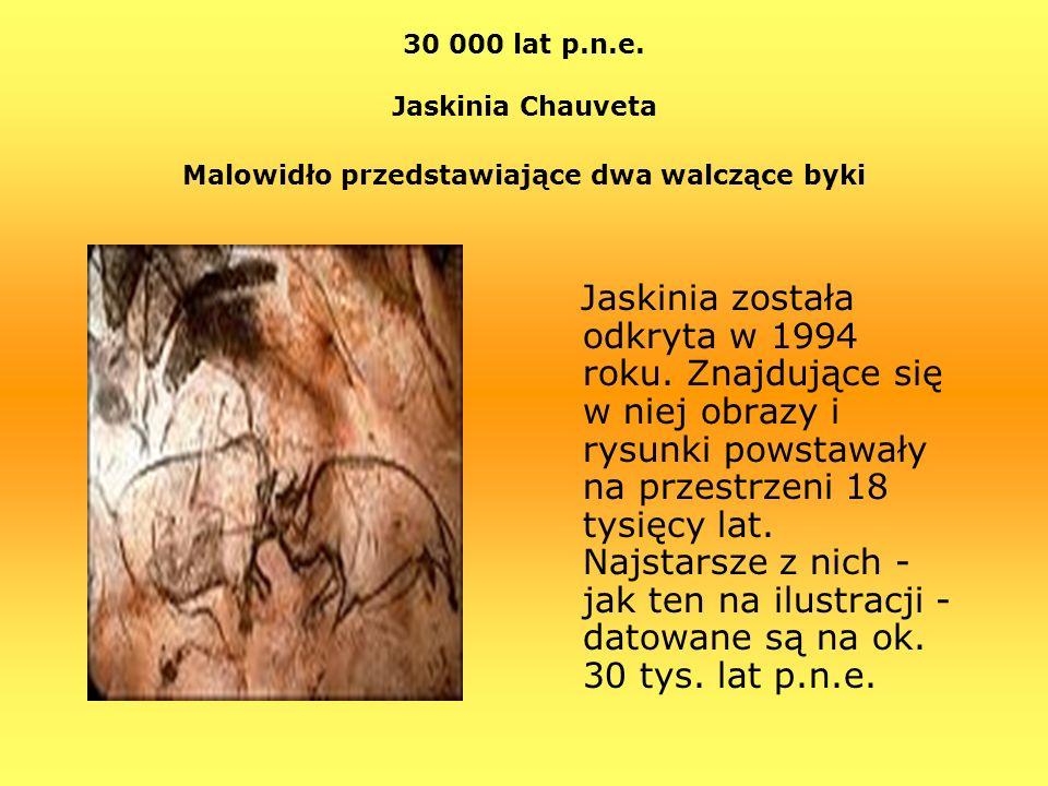 30 000 lat p.n.e. Jaskinia Chauveta Malowidło przedstawiające dwa walczące byki Jaskinia została odkryta w 1994 roku. Znajdujące się w niej obrazy i r
