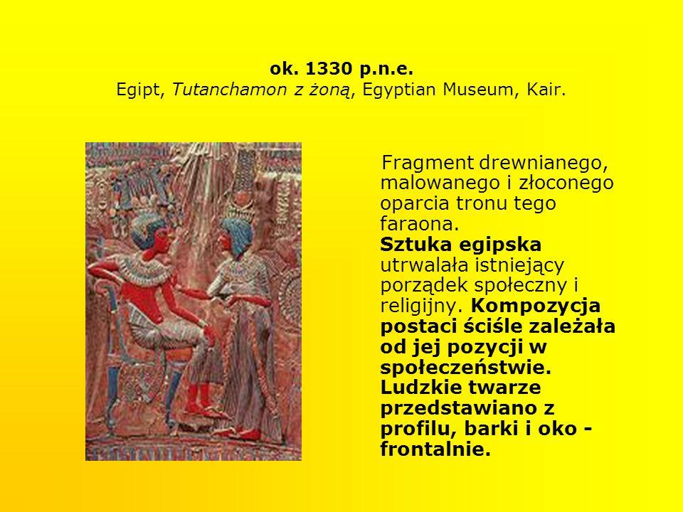 ok. 1330 p.n.e. Egipt, Tutanchamon z żoną, Egyptian Museum, Kair. Fragment drewnianego, malowanego i złoconego oparcia tronu tego faraona. Sztuka egip
