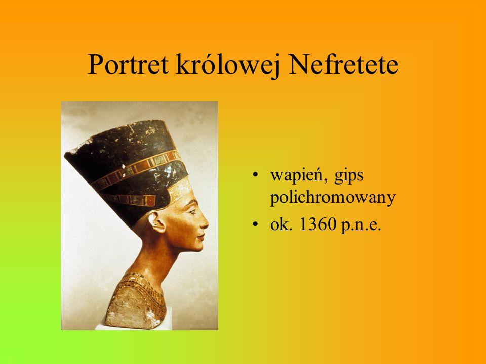 Portret królowej Nefretete wapień, gips polichromowany ok. 1360 p.n.e.