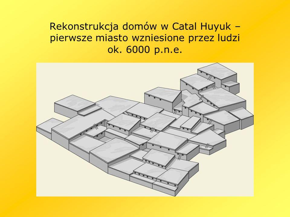 Rekonstrukcja domów w Catal Huyuk – pierwsze miasto wzniesione przez ludzi ok. 6000 p.n.e.