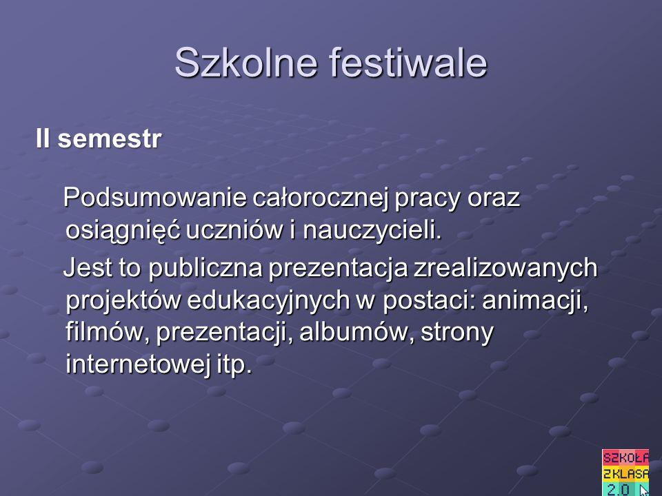 Szkolne festiwale Podsumowanie całorocznej pracy oraz osiągnięć uczniów i nauczycieli.