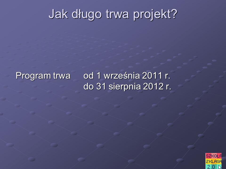 Jak długo trwa projekt Program trwa od 1 września 2011 r. do 31 sierpnia 2012 r.