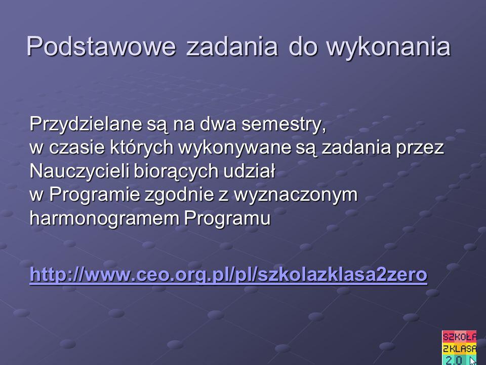 Podstawowe zadania do wykonania Przydzielane są na dwa semestry, w czasie których wykonywane są zadania przez Nauczycieli biorących udział w Programie zgodnie z wyznaczonym harmonogramem Programu http://www.ceo.org.pl/pl/szkolazklasa2zero