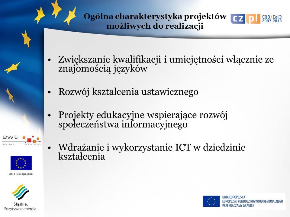 Zwiększanie kwalifikacji i umiejętności włącznie ze znajomością języków Rozwój kształcenia ustawicznego Projekty edukacyjne wspierające rozwój społeczeństwa informacyjnego Wdrażanie i wykorzystanie ICT w dziedzinie kształcenia Ogólna charakterystyka projektów możliwych do realizacji
