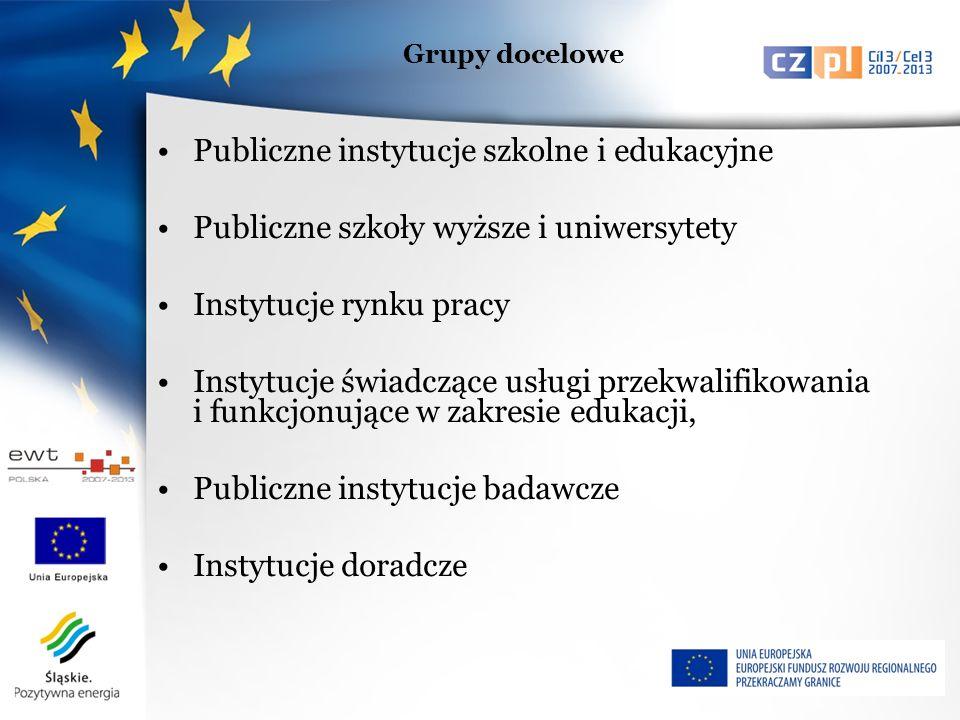 Publiczne instytucje szkolne i edukacyjne Publiczne szkoły wyższe i uniwersytety Instytucje rynku pracy Instytucje świadczące usługi przekwalifikowania i funkcjonujące w zakresie edukacji, Publiczne instytucje badawcze Instytucje doradcze Grupy docelowe