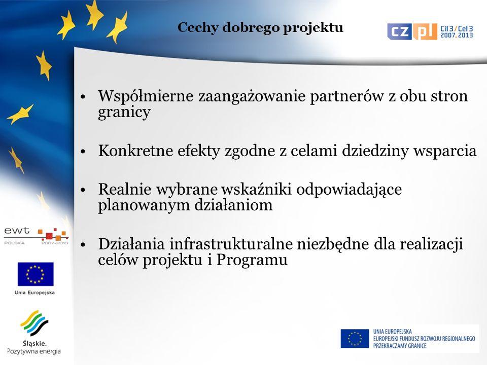 Współmierne zaangażowanie partnerów z obu stron granicy Konkretne efekty zgodne z celami dziedziny wsparcia Realnie wybrane wskaźniki odpowiadające planowanym działaniom Działania infrastrukturalne niezbędne dla realizacji celów projektu i Programu Cechy dobrego projektu