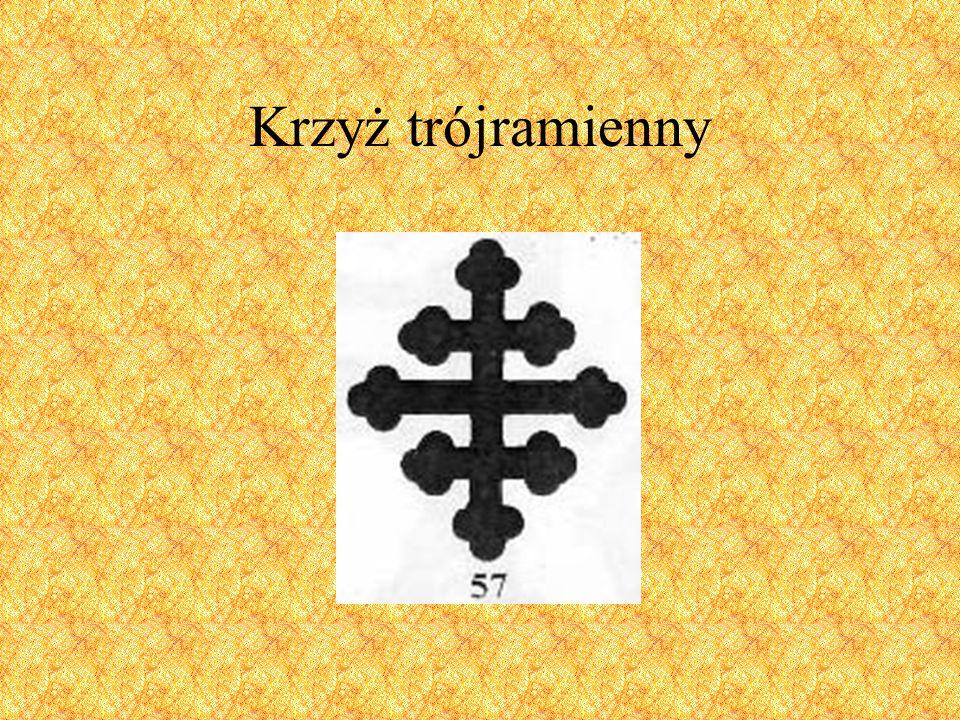 Jest to krzyż grecki (zwany także krzyżem brabanckim lub Pasyjnym), którego wszystkie ramiona zakończone są ornamentem potrójnego liścia koniczyny.