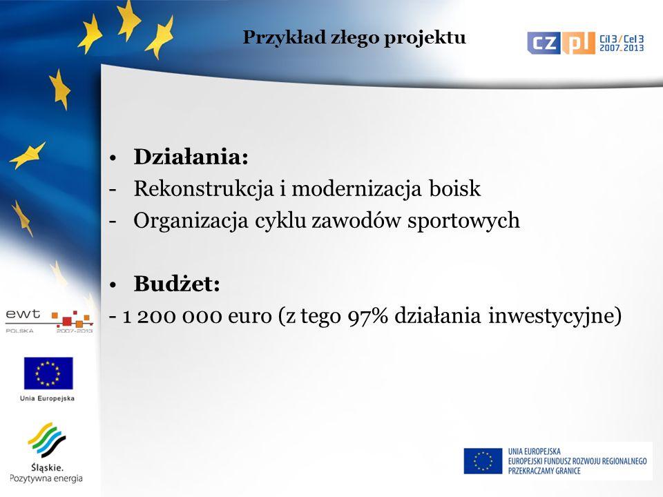 Działania: -Rekonstrukcja i modernizacja boisk -Organizacja cyklu zawodów sportowych Budżet: - 1 200 000 euro (z tego 97% działania inwestycyjne) Przykład złego projektu