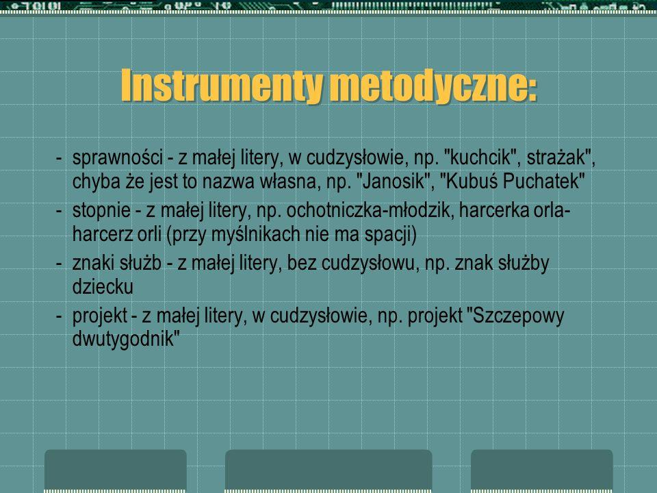 Instrumenty metodyczne: -sprawności - z małej litery, w cudzysłowie, np.