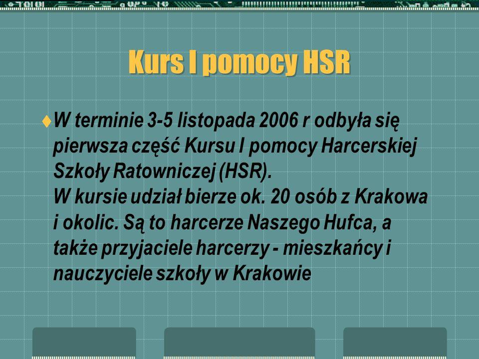 Kurs I pomocy HSR W terminie 3-5 listopada 2006 r odbyła się pierwsza część Kursu I pomocy Harcerskiej Szkoły Ratowniczej (HSR). W kursie udział bierz
