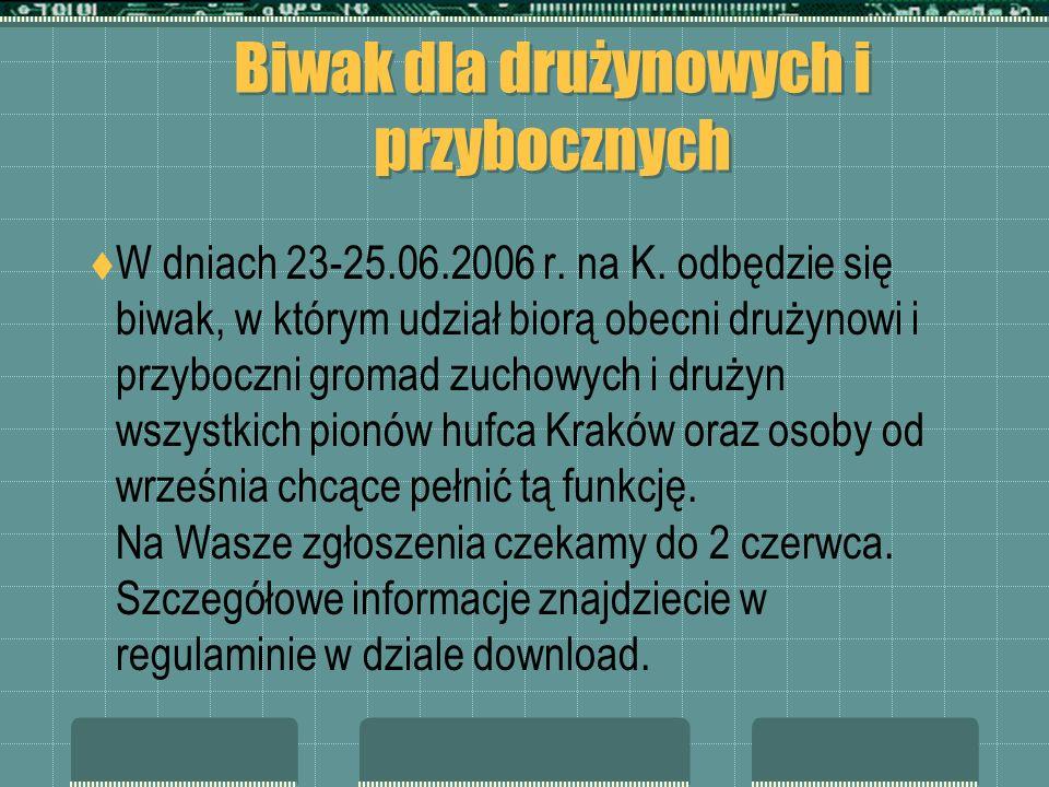 Biwak dla drużynowych i przybocznych W dniach 23-25.06.2006 r. na K. odbędzie się biwak, w którym udział biorą obecni drużynowi i przyboczni gromad zu
