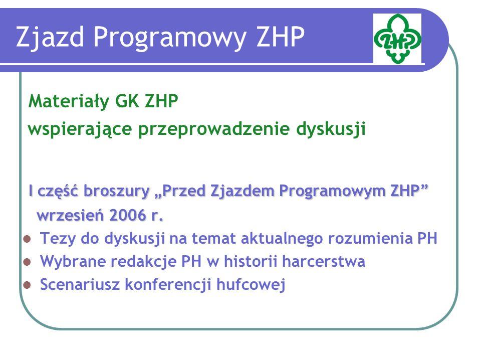 Zjazd Programowy ZHP Materiały GK ZHP wspierające przeprowadzenie dyskusji I część broszury Przed Zjazdem Programowym ZHP wrzesień 2006 r.