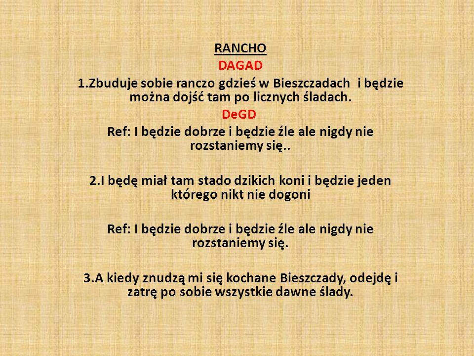 RANCHO DAGAD 1.Zbuduje sobie ranczo gdzieś w Bieszczadach i będzie można dojść tam po licznych śladach. DeGD Ref: I będzie dobrze i będzie źle ale nig