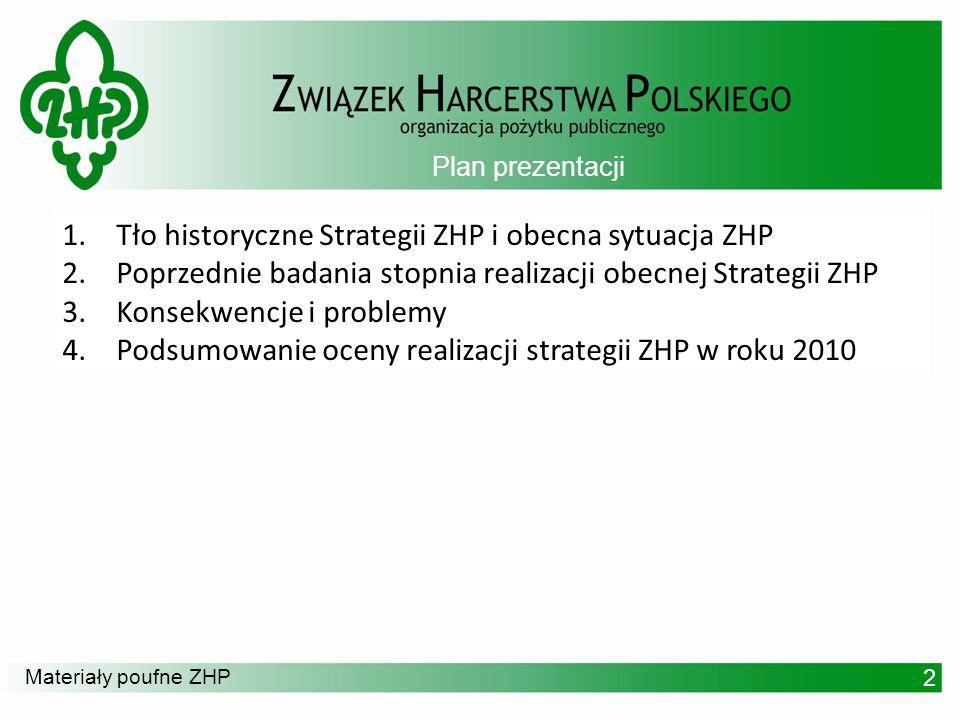 Materiały poufne ZHP Tło historyczne Strategii i obecna sytuacja ZHP 3 1.Obowiązującym dokumentem jest Strategia Rozwoju 2005 – 2009 2.Zasadniczym celem dokonywanych bieżących aktualizacji dotychczasowego dokumentu było uporządkowanie i zwiększenie czytelności zapisów strategicznych.