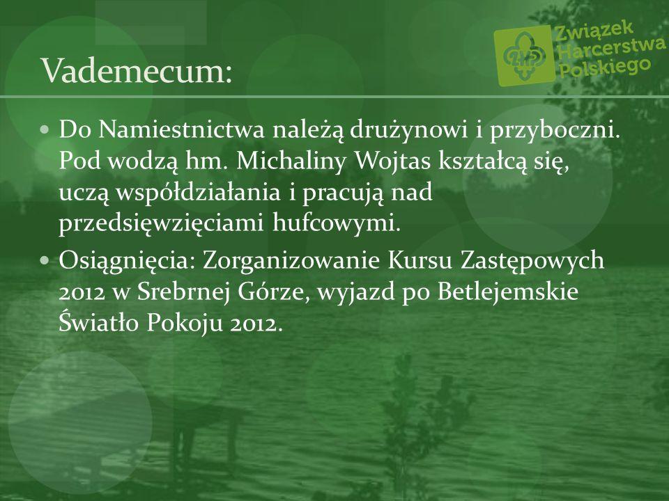 Vademecum: Do Namiestnictwa należą drużynowi i przyboczni. Pod wodzą hm. Michaliny Wojtas kształcą się, uczą współdziałania i pracują nad przedsięwzię