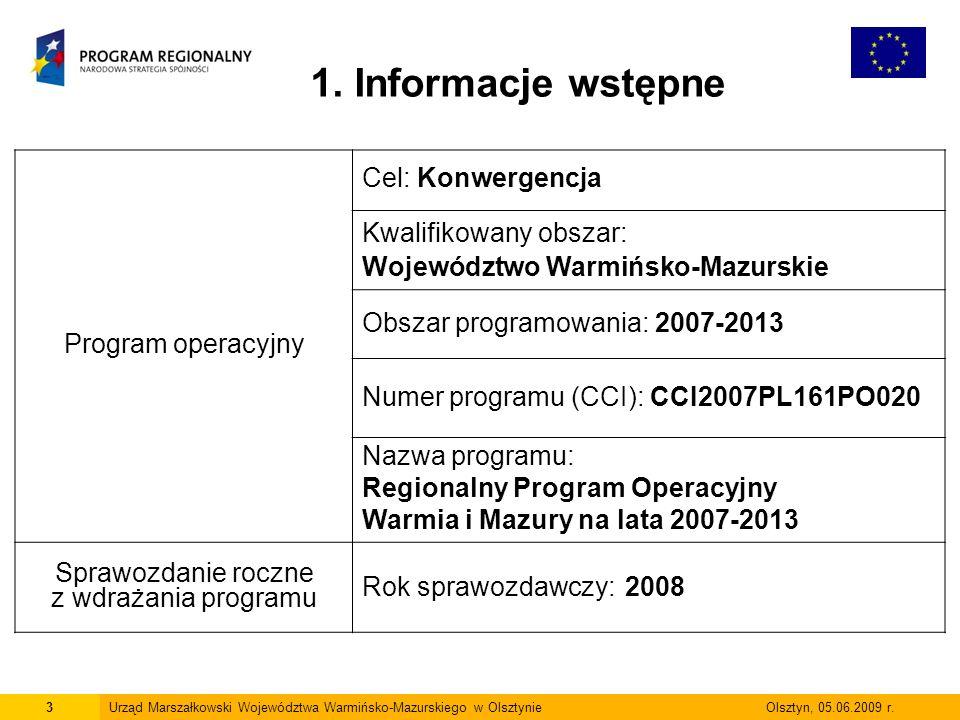 24Urząd Marszałkowski Województwa Warmińsko-Mazurskiego w Olsztynie Olsztyn, 05.06.2009 r.