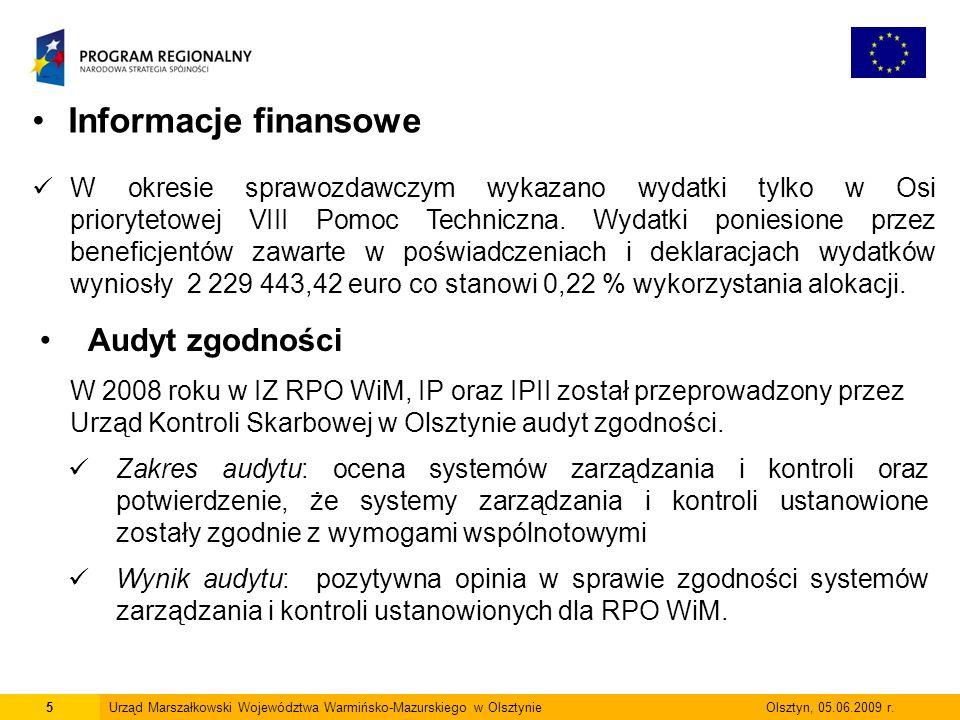 16Urząd Marszałkowski Województwa Warmińsko-Mazurskiego w Olsztynie Olsztyn, 05.06.2009 r.