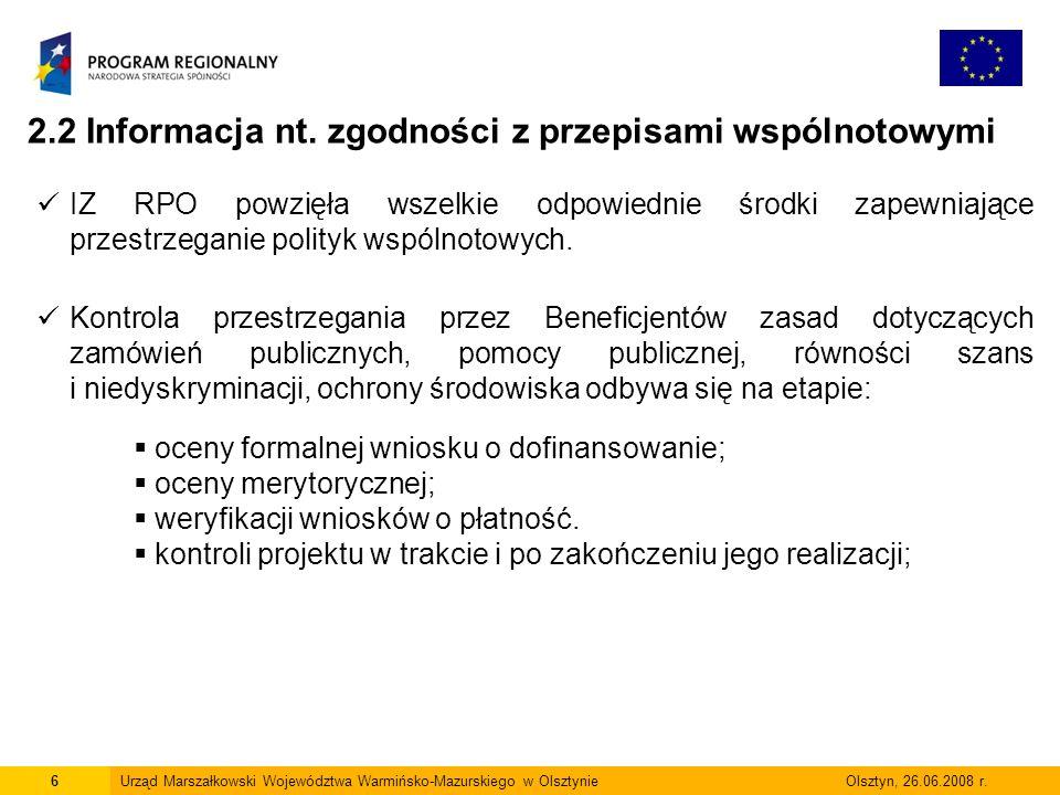 7Urząd Marszałkowski Województwa Warmińsko-Mazurskiego w Olsztynie Olsztyn, 05.06.2009 r.