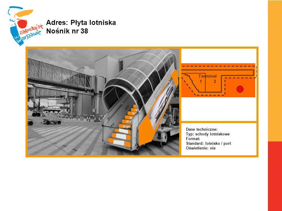 Terminal 1 2 Warszawa, 6.04.2010 r. Adres: Płyta lotniska Nośnik nr 38 Dane techniczne: Typ: schody lotniskowe Format: Standard: lotnisko / port Oświe